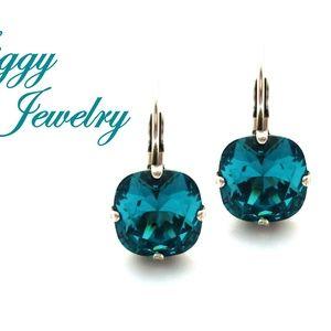 Swarovski Crystal Teal Blue Cushion Cut Earrings